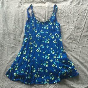 Blue Floral Scoop Back Dress